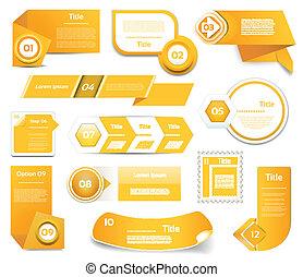 10, set, eps, icons., arancia, passo, vettore, progresso, versione