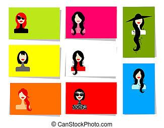 10, set, ritratti, testo, donna, disegno, cartelle, posto, tuo