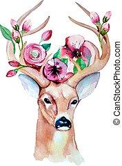 10., watercolor., cervo, eps, illustrazione, matrimonio, risparmiare, date.