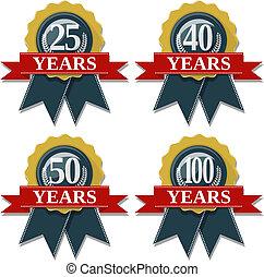 100, 25, 50, 40, anniversario, sigillo, anni