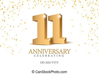 11., anniversario, oro, 3d, numbers.