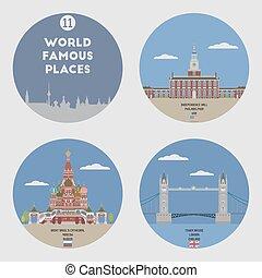 11, mondo, set, famoso, places.