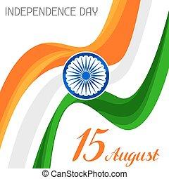 15, agosto, india, augurio, th, celebrazione, giorno, indipendenza, card.