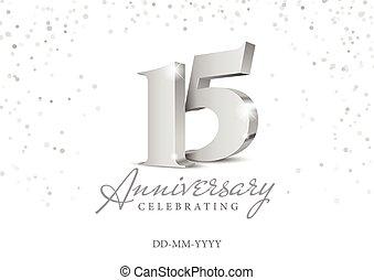 15., anniversario, argento, numbers., 3d