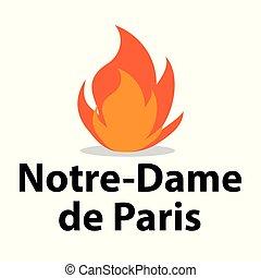 15, fuoco, notre, -, francia, aprile, 2019, cattedrale, dama