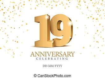 19., 3d, oro, numbers., anniversario