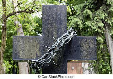 19, nero, warsaw., arte, secolo, cimitero, croce, corona, poland., anticaglia, spine