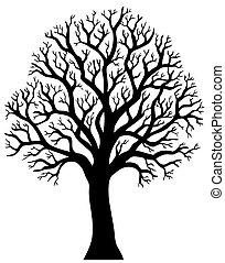 2, albero, senza, silhouette, foglia