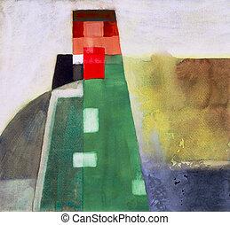 #2, astratto, torre, watercolour