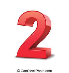 2, baluginante, numero, rosso, 3d
