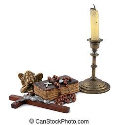2, candele, bibbia, angelo, perline