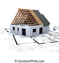 2, casa, cianografie, costruzione