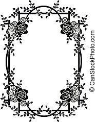 2, cornice, grafico, fiori, elemento