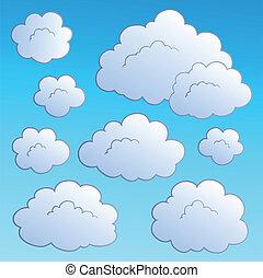 2, nubi, cartone animato, collezione