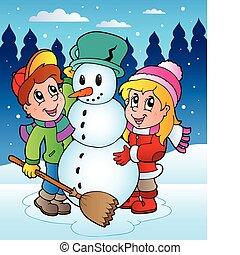 2, scena, inverno, bambini