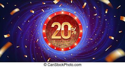 20, scontare, percento, fondo