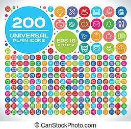 200, universale, set, pianura, icona