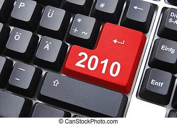 2010, anno, felice, nuovo, bottone