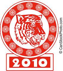 2010, anno, tiger, cinese, nuovo