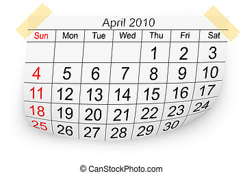 2010, aprile, calendario