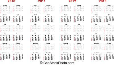 2010, attraverso, calendario, 2013