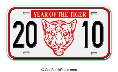 2010, automobile, nuovo, piastra, tiger, licenza, anno