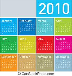 2010., calendario, colorito