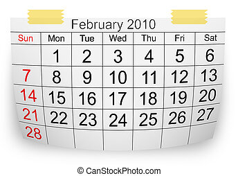 2010, febbraio, calendario