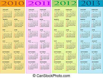 2012, calendari, 2011, 2010