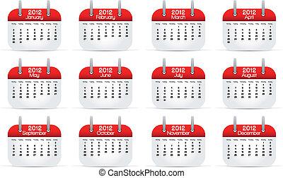 2012, calendario, annuale, inglese