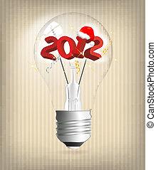 2012, vacanza, illustrazione, anno