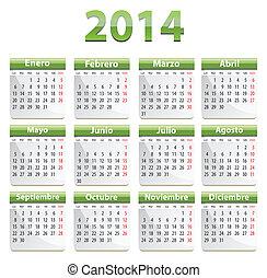 2014, calendario, spagnolo