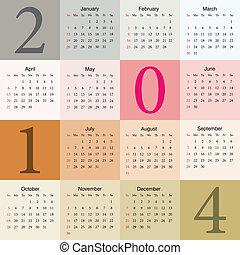 2014, colorito, calendario