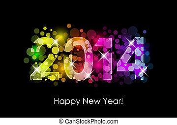 2014, colorito, felice, nuovo, -, anno