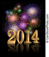 2014, digitale, anno, fireworks, nuovo