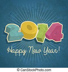 2014, felice, anno, retro, nuovo