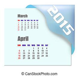 2015, aprile, calendario, -, serie