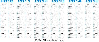2015, calendario, attraverso, 2010