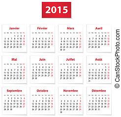 2015, calendario, francese