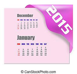 2015, gennaio, calendario, -, serie