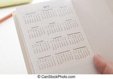 2015, nuovo, calendario, presa a terra