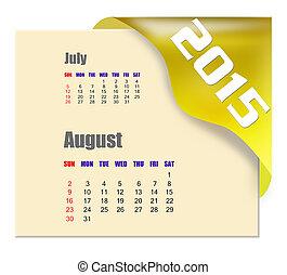 2015, serie, calendario, -, agosto