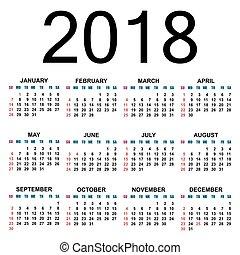 2018., calendario, template.