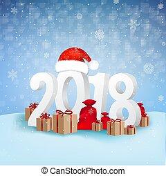 2018, fondo, anno, nuovo, scheda, felice