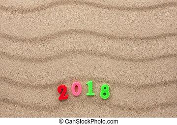 2018, nuovo, sabbia, scritto, anno