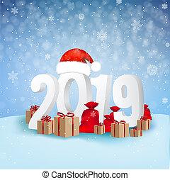 2019, fondo, anno, nuovo, scheda, felice