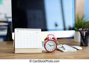 2021, calendario, rosso, desktop, sveglia