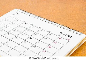 2021, reminder., organizzatore scrivania, calendario, febbraio, piano