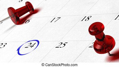 24, blu, differente, pupins, indicare, effetto, date, surounded, numero, ordine del giorno, offuscamento, cerchio, rosso