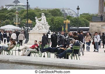 24:, parigi, gard, locale, -, turista, aprile, tuileries, famoso